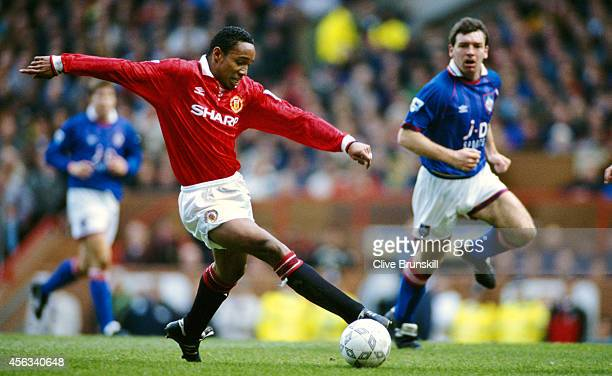 Manchester United player Paul Ince in action during a match between Manchester United and Oldham at Old Trafford on April 4 1994 in Manchester England