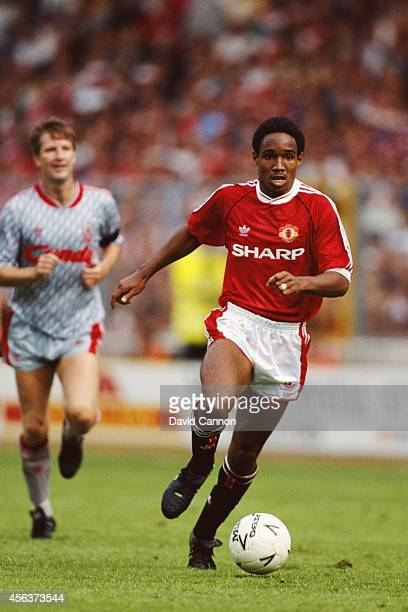 Manchester United player Paul Ince in action during the 1990 FA Charity Shield between Manchester United and Liverpool at Wembley Stadium on August...