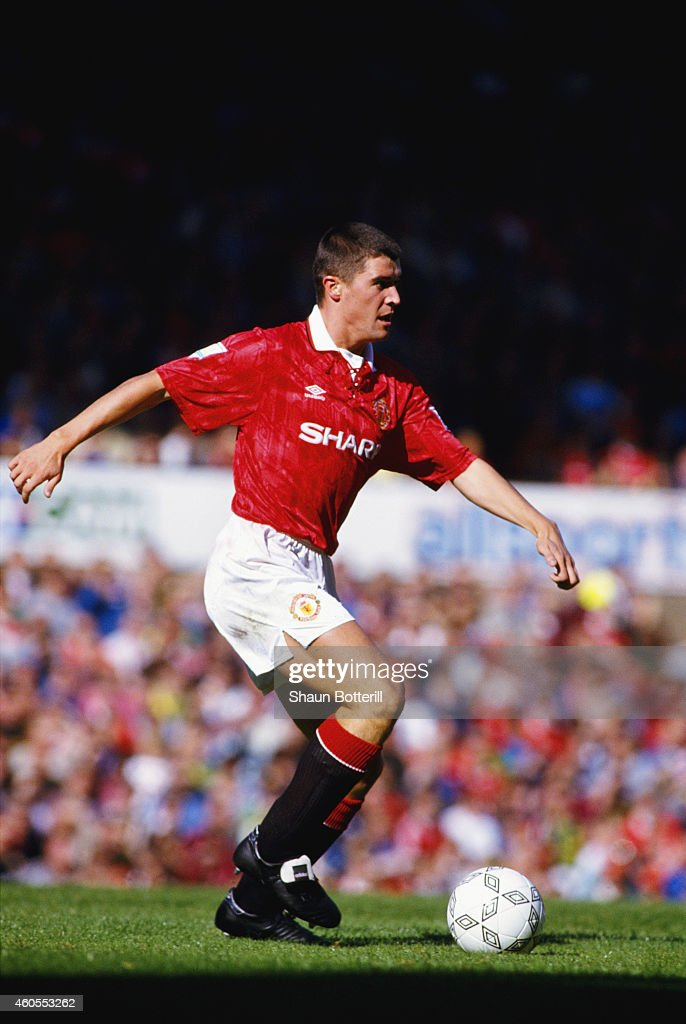 Manchester United player Roy Keane in action during a match at Old Trafford during the 1993/94 season
