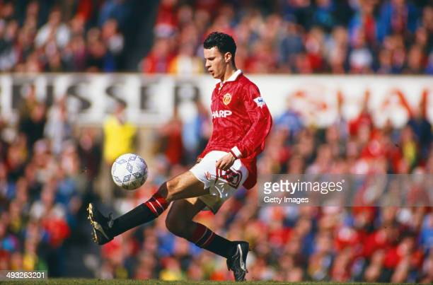 Manchester United player Ryan Giggs in action during a Division One match between Manchester United and Aston Villa at Old Trafford on March 14 1993...