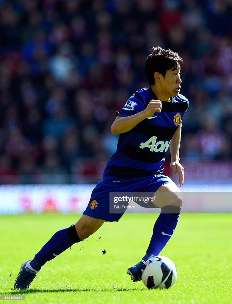 Manchester United player <a gi-track='captionPersonalityLinkClicked' href=/galleries/search?phrase=Shinji+Kagawa&family=editorial&specificpeople=4314029 ng-click='$event.stopPropagation()'>Shinji Kagawa</a> in action during the Barclays Premier League match between Sunderland and Manchester United at Stadium of Light on March 30, 2013 in Sunderland, England.