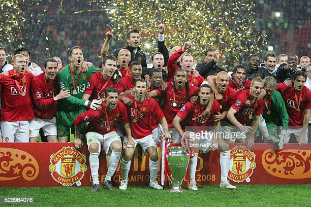 Manchester United players celebrate winning the European Cup after the UEFA Champions League Final between Chelsea and Manchester United at the...