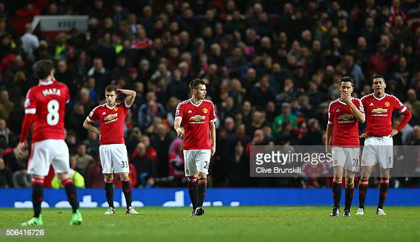 Manchester United players look dejected during the Barclays Premier League match between Manchester United and Southampton at Old Trafford on January...