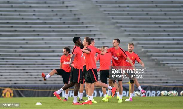 Manchester United players perform drills during a training session at the Rose Bowl in Pasadena California on July 22 where the English Premiere...