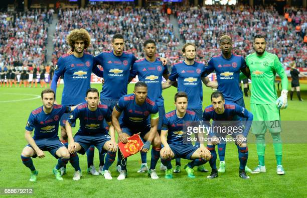 Manchester United pose for a team group before the UEFA Europa League final between Ajax and Manchester United at the Friends Arena on May 24 2017 in...