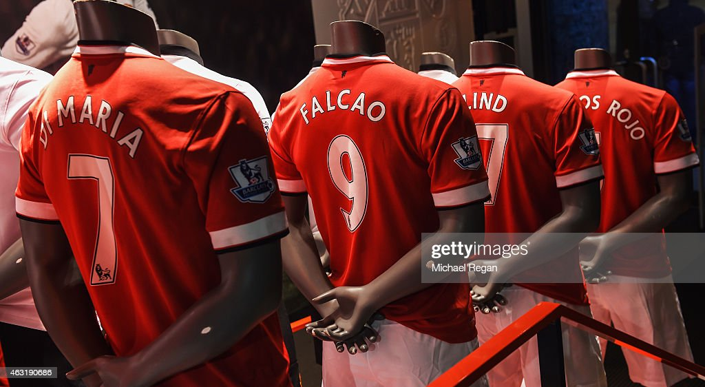Manchester United shirts are displayed in the club shop prior to the Barclays Premier League match between Manchester United and Burnley at Old...