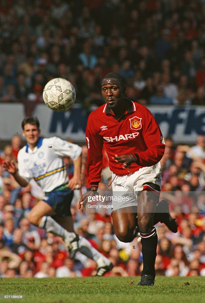 Manchester United striker Andy Cole in action during the FA Premiership match between Manchester United and Leeds United on April 2, 1995 in Manchester, England.