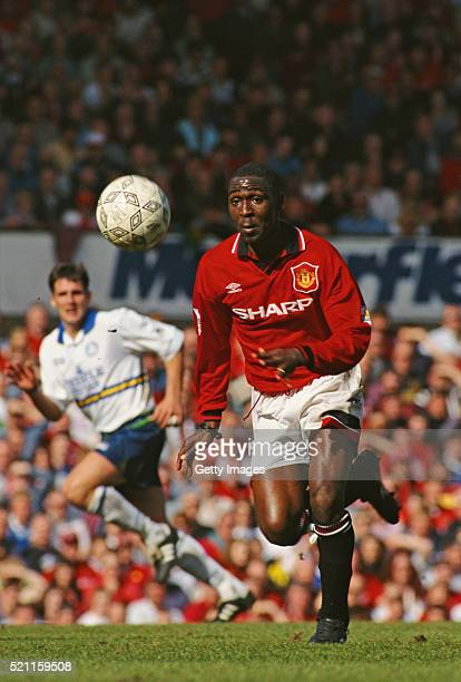 Manchester United striker Andy Cole in action during the FA Premiership match between Manchester United and Leeds United on April 2 1995 in...