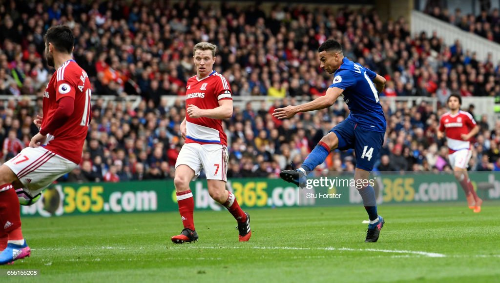 Manchester United striker Jesse Lingard scores the second goal during the Premier League match between Middlesbrough and Manchester United at Riverside Stadium on March 19, 2017 in Middlesbrough, England.
