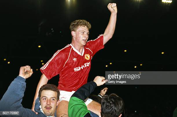 Manchester United striker Mark Robins is chairlifted by fans after scoring the winning goal in the 1990 FA Cup Semi Final against Oldham Athletic at...
