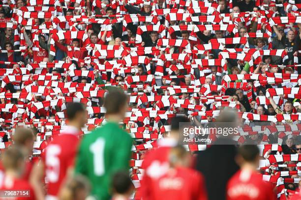 Manchester United Supporters and Players observe a minutes silence to honour the victims of the Munich Air disaster which happened 50 years ago on...