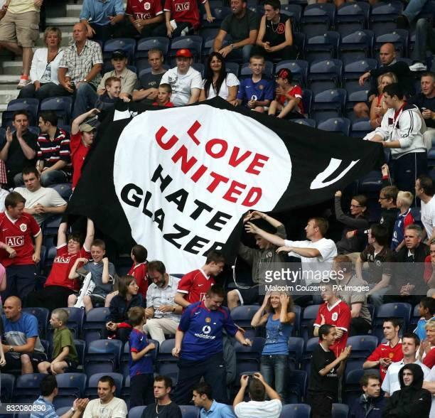 Manchester United supporters display their banner during a preseason friendly against Preston at Deepdale Preston