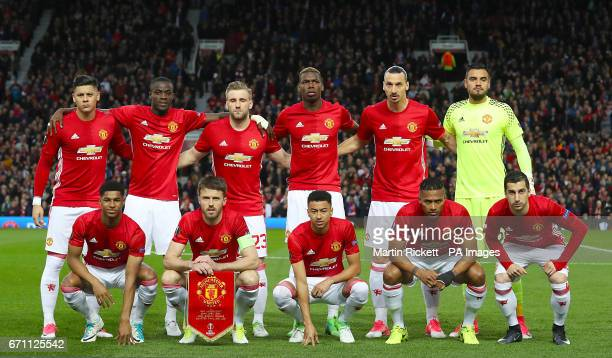 Manchester United Tea Group Shot Top Row Marcos Rojo Eric Bailly Luke Shaw Paul Pogba Zlatan Ibrahimovic and Sergio Romero Bottom Row Marcus Rashford...