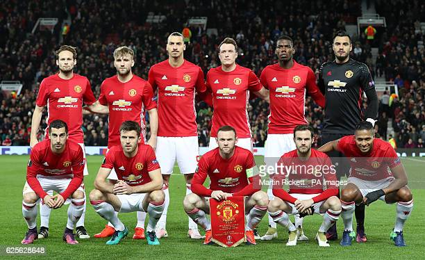 Manchester United team group Daley Blind Luke Shaw Zlatan Ibrahimovic Phil Jones Paul Pogba and Sergio Romero Henrikh Mkhitaryan Michael Carrick...