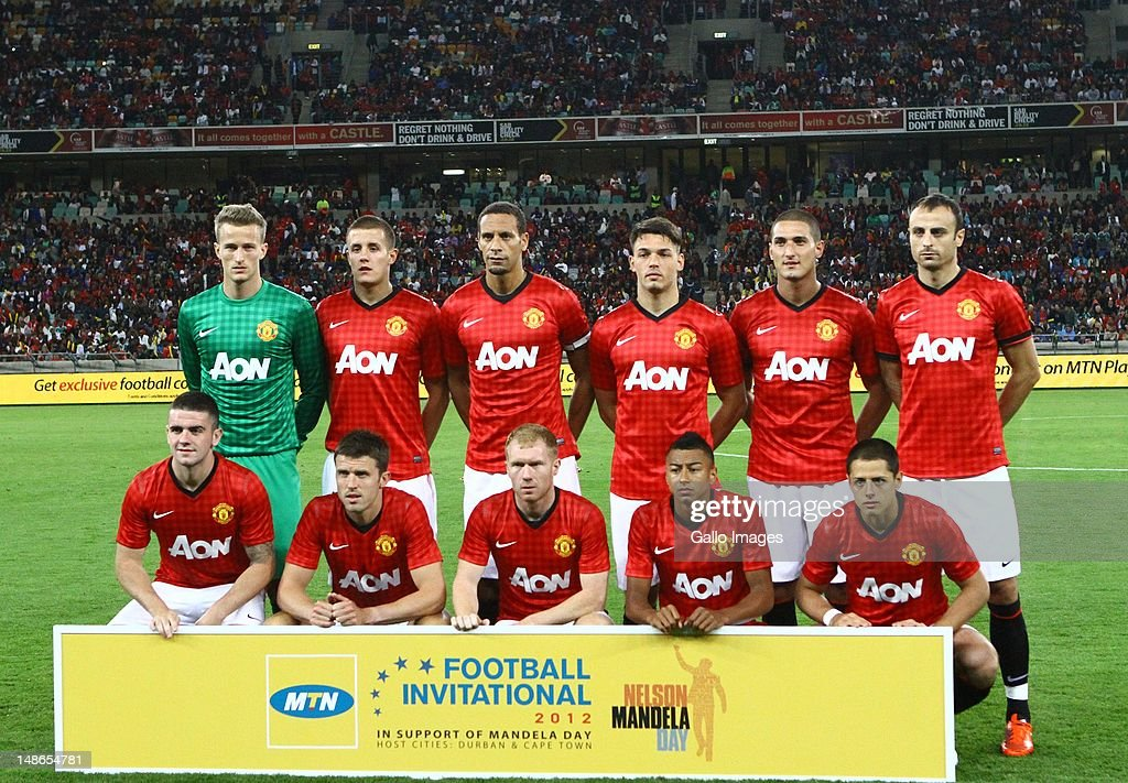 Manchester United team photo during the MTN Football Invitational match between Amazulu and Manchester United from Moses Mabhida Stadium on July 18, 2012 in Durban, South Africa