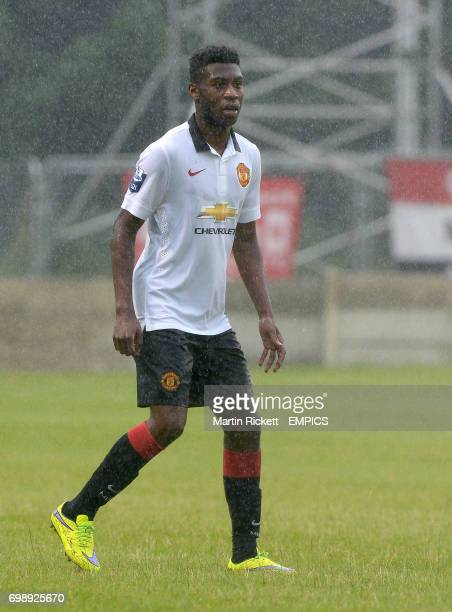 Manchester United U21's Tim FosuMensah in action against Salford City