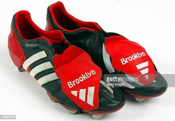 Manchester United v Deportivo La Coruna 2002 The boots that David wore when he received the crunching tackle from Argentine Pedro Duscher in the...