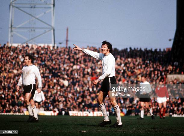 1971 Manchester United v Derby County Derby County's Roy McFarland points the way