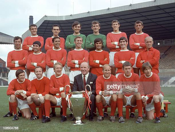 Manchester United with the European Cup at Old Trafford Manchester July 1968 Back row left to right Bill Foulkes John Aston Jimmy Rimmer Alex Stepney...