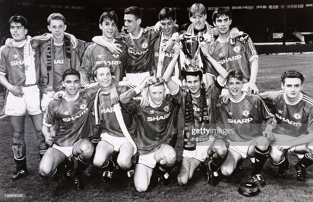 Manchester United Youth Team winners of the FA Youth Cup Final 2nd leg match against Crystal Palace at Old Trafford Manchester on 15th May 1992...