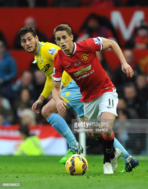 Manchester United's Adnan Januzaj and Crystal Palace's Joel Ward battle for the ball