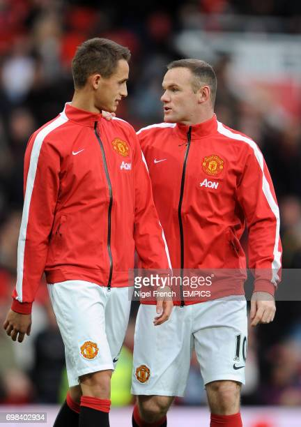 Manchester United's Adnan Januzaj and Wayne Rooney during the warmup