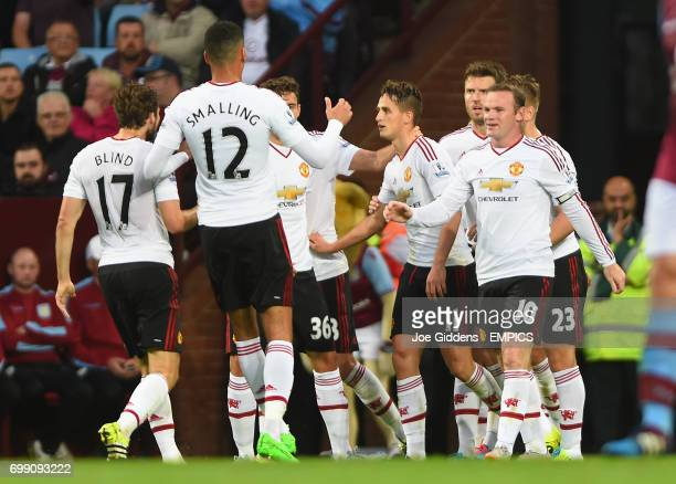 Manchester United's Adnan Januzaj celebrates his goal with teammates