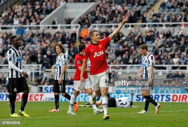 Manchester United's Adnan Januzaj celebrates scoring his sides fourth goal of the match
