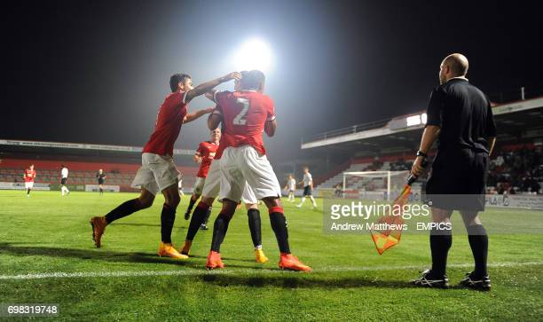 Manchester United's Adnan Januzaj celebrates with his team mates after he scores their side's first goal of the game