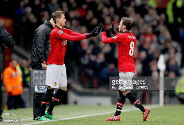 Manchester United's Adnan Januzaj comes on as a substitute for Juan Mata