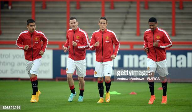 Manchester United's Adnan Januzaj Saidy Janko Marnick Vermijil and Andreas Pereira warm up before kick off