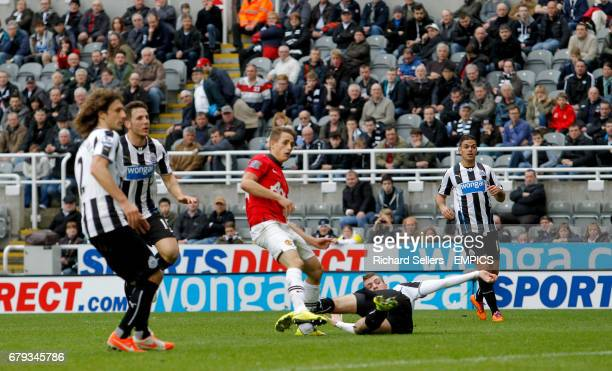 Manchester United's Adnan Januzaj scores his sides fourth goal of the match