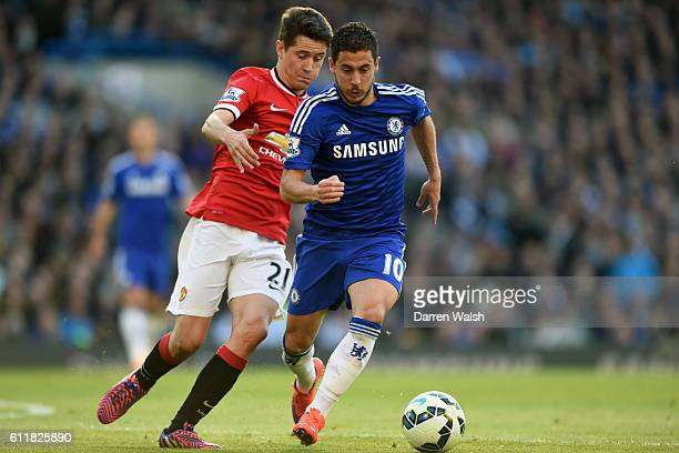 Manchester United's Ander Herrera and Chelsea's Eden Hazard battle for the ball