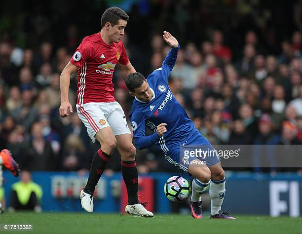Manchester United's Ander Herrera and Chelsea's Eden Hazard during the EPL Premier League match between Chelsea and Manchester United at Stamford...