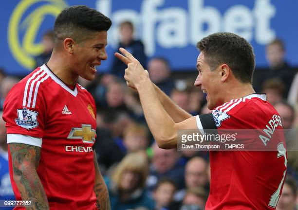 Manchester United's Ander Herrera celebrates scoring the second goal with Manchester United's Marcos Rojo