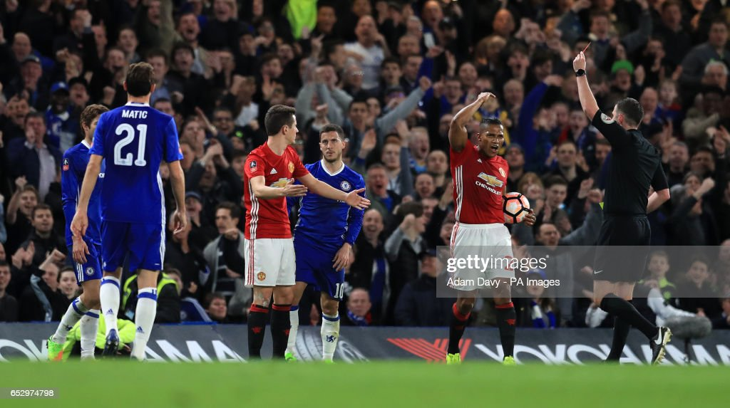Manchester United's Ander Herrera is sent off during the Emirates FA Cup, Quarter Final match at Stamford Bridge, London.