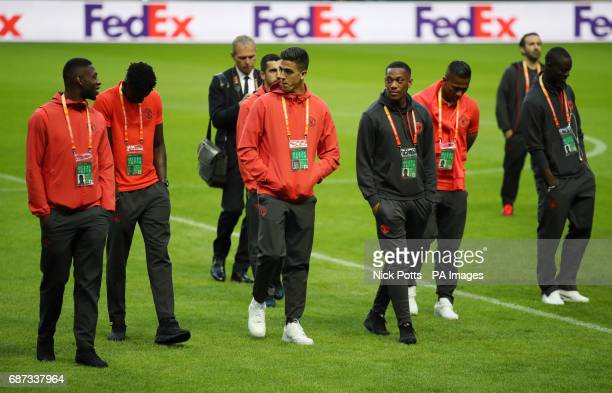 Manchester United's Anthony Martial and Joel Castro Pereira during the walk around at the Friends Arena Stockholm in Sweden ahead of the Europa...