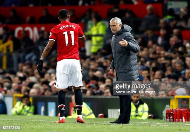 Manchester United's Anthony Martial and manager Jose Mourinho during the Premier League match at Old Trafford Manchester