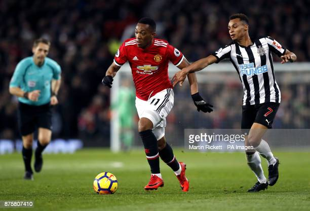 Manchester United's Anthony Martial and Newcastle United's Jacob Murphy battle for the ball during the Premier League match at Old Trafford Manchester