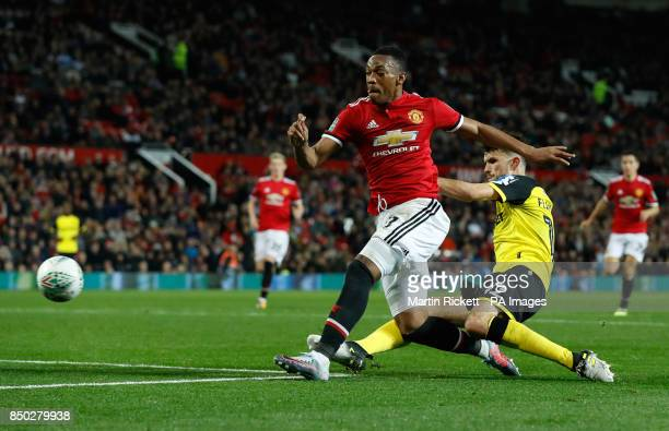 Manchester United's Anthony Martial attempts a shot during the Carabao Cup Third Round match at Old Trafford Manchester