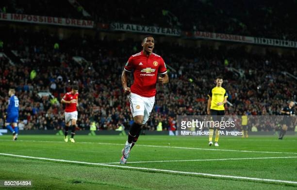 Manchester United's Anthony Martial celebrates scoring his side's fourth goal of the game during the Carabao Cup Third Round match at Old Trafford...