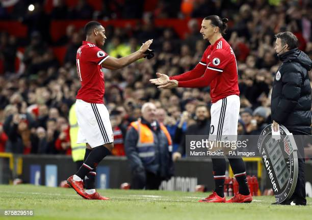 Manchester United's Anthony Martial is substituted off the pitch for Zlatan Ibrahimovic during the Premier League match at Old Trafford Manchester