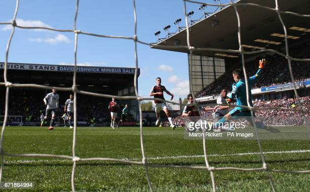 Manchester United's Anthony Martial scores his side's first goal of the game during the Premier League match at Turf Moor Burnley