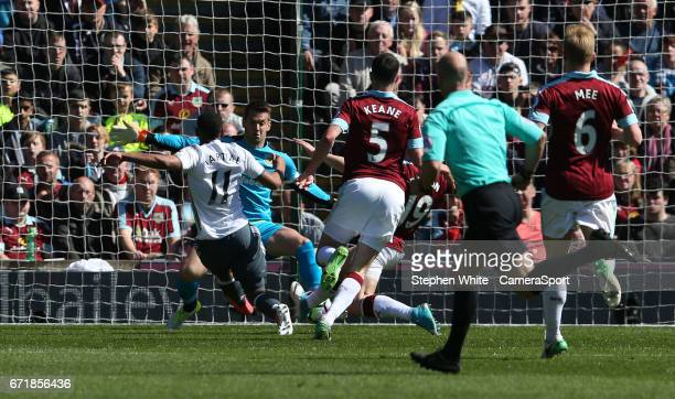 Manchester United's Anthony Martial scores the opening goal during the Premier League match between Burnley and Manchester United at Turf Moor on...