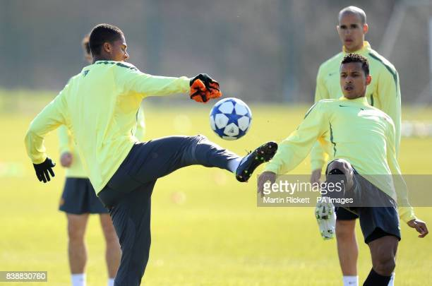 Manchester United's Antonio Valencia and Nani during a Training Session at Carrington Training Ground Carrington