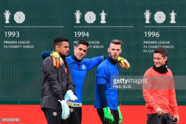 Manchester United's Argentinian goalkeeper Sergio Romero Manchester United's Swiss goalkeeper Joel Castro Pereira Manchester United's Spanish...