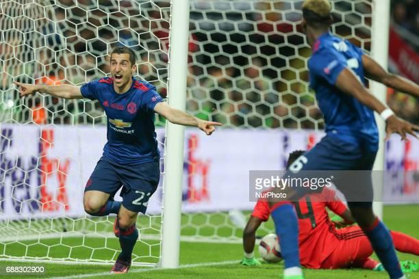 Manchester United's Armenian midfielder Henrikh Mkhitaryan celebrates scoring during the UEFA Europa League final football match Ajax Amsterdam v...