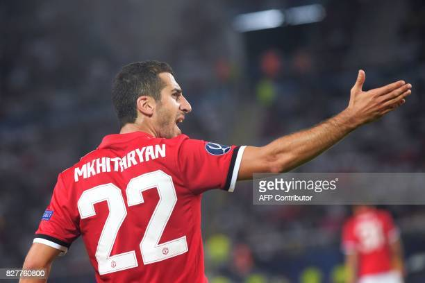 Manchester United's Armenian midfielder Henrikh Mkhitaryan gestures during the UEFA Super Cup football match between Real Madrid and Manchester...
