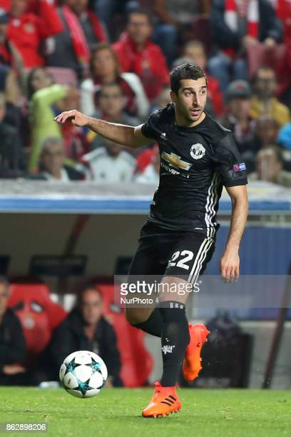 Manchester United's Armenian midfielder Henrikh Mkhitaryan in action during the UEFA Champions League football match SL Benfica vs Manchester United...