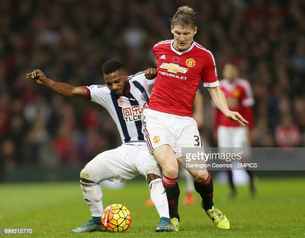 Manchester United's Bastian Schweinsteiger and West Bromwich Albion Stephane Sessegnon